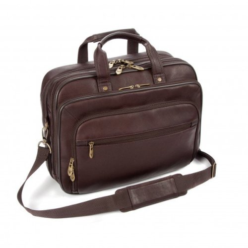 """Falcon Colombian Leather 15"""" Laptop Briefcase - FI6704 Brown"""