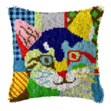 """Latch Hook Complete Cushion Cover Kit """"Abstract Cat""""43x43cm"""