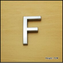 Self Adhesive 3D Chrome Letters Silver House Door Car 7cm CURVED - F