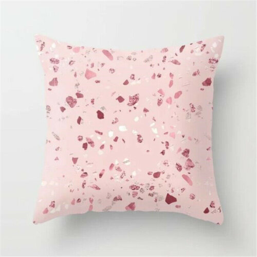 (#1 Pink) Rose Gold Cushion Covers Pink Grey Geometric Marble Pillow Case Bed SofaWaist Throw Home Decoration