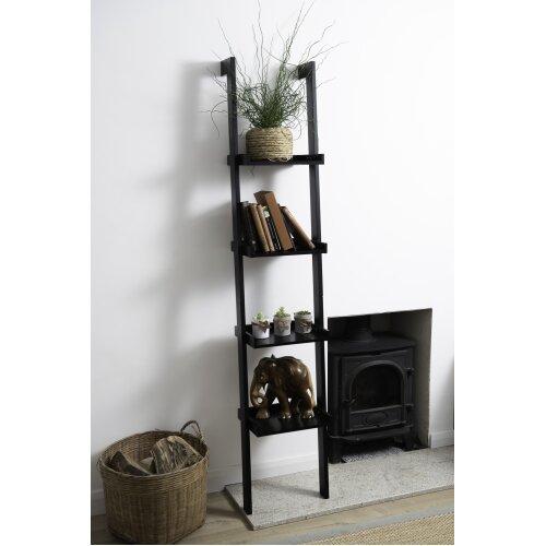 Sennen BLACK Wooden 4 tier Ladder Shelf - Leaning Bookcase