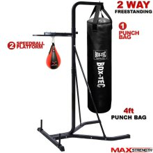 2 Way Free Standing Frame 4ft Boxing Hanging Punch Bag Set Stand Gym Training
