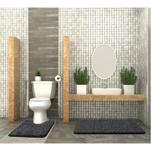 (2 Piece Non Slip Shaggy Glitter Bath Mat & Pedestal Mat Set) 2 Piece Non Slip Shaggy Glitter Bath Mat & Pedestal Mat Set