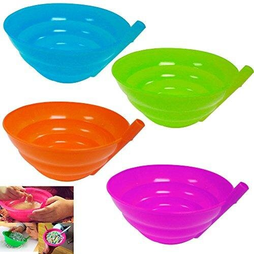4 Sippy Bowls - Plastic Bowls with Built in Straw - Green, Blue, Orange & Purple