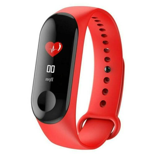 (Red) Bluetooth Smart Watch Bracelets Bands Heart Rate Blood Pressure Fitness Tracker