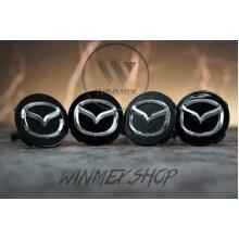 Set of 4 Black Mazda alloy wheel caps