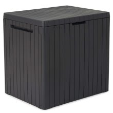 Keter Garden Storage Box City 113L Outdoor Entryway Trunk Chest Bench Box