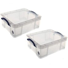 Really Useful Storage Box 18 Litre Pack of 2 - Color: Clear