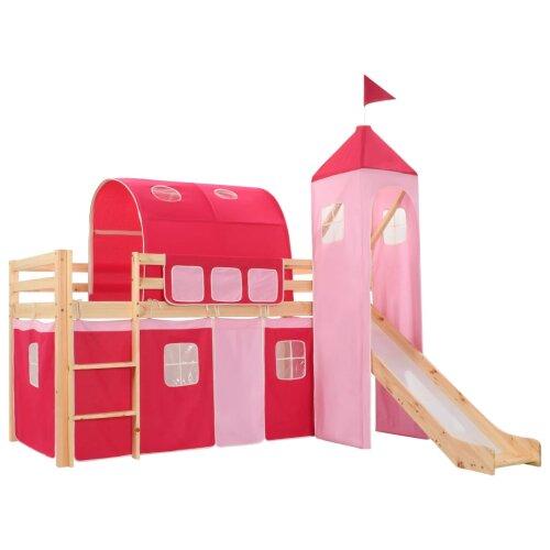 vidaXL Children's Loft Bed Frame with Slide & Ladder Pinewood 208x230cm Cot