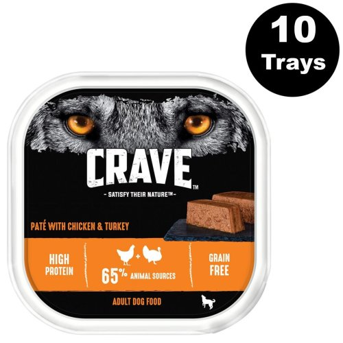 CRAVE Dog Tray With Chicken & Turkey In Loaf 10x300g