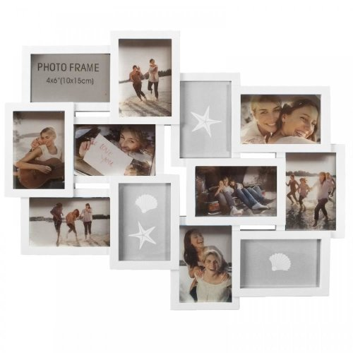 EMBOSSED FAMILY PHOTO FRAME MULTI PICTURE WALL HANGING APERTURE HOLDER 6 DESIGNS[WHITE (KF100099)]