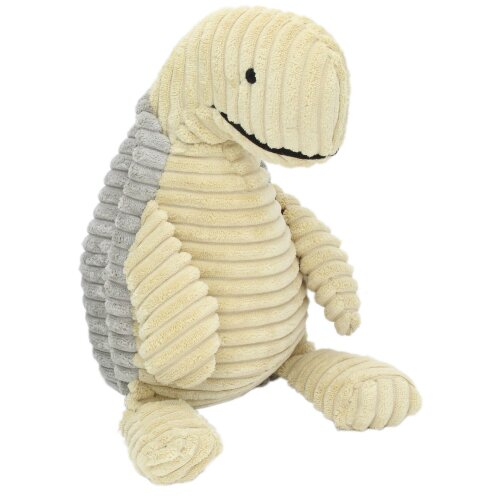 Ribbed Chunky Cord Sitting Turtle Doorstop - Cream and Grey Tortoise Door Stop