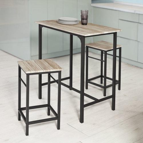 SoBuy® OGT10-N, 1 Bar Table and 2 Stools, Kitchen Breakfast Bar Set Dining Set