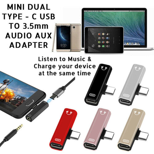 Mini Dual TYPE-C USB to 3.5mm AUX audio Jack Headphone Adapter/Connector Compatible With Samsung Galaxy S10