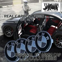 BMW COMPATIBLE ALLOY WHEEL CENTRE CAP 68MM BLACK CARBON LOOK