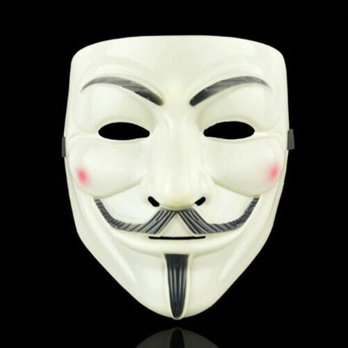 (Yellow) Vendetta Guy Fawkes Hacker Face Mask Adults Halloween Fancy Party Cosplay