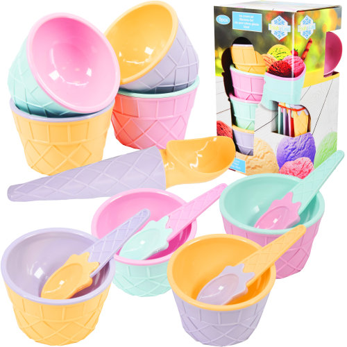 GEEZY Set of 4 Ice Cream Spoons and Bowls Set with Scoop