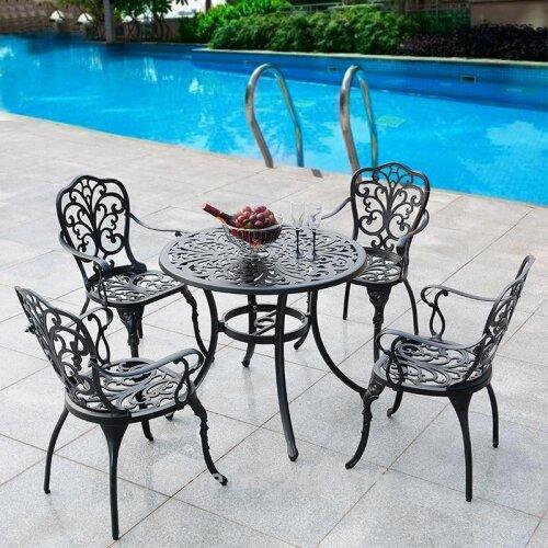 Patio Furniture dining set  garden chair table solid Cast Aluminum Antique Copper