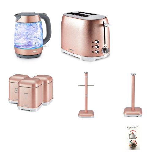 Tower Pink Glitz 1.7 Litre GLASS Jug 3kW Kettle, 2 Slice Toaster, Set of 3 Canisters & Towel Pole and Mug Tree.