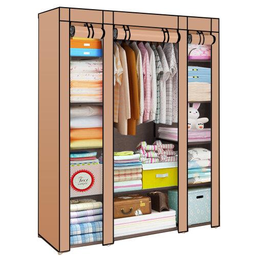 (Coffee) Canvas Wardrobe   Fabric Hanging Clothes Storage
