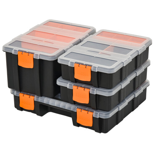 DURHAND Set Of 4 Plastic DIY Tool Storage Boxes Dividers Locking Lids Stacking