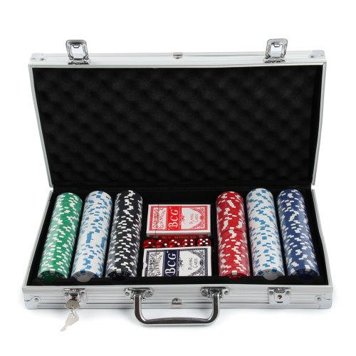 Poker Set - 300 Pcs Laser Chips Texas Cards Dice Decks Casino