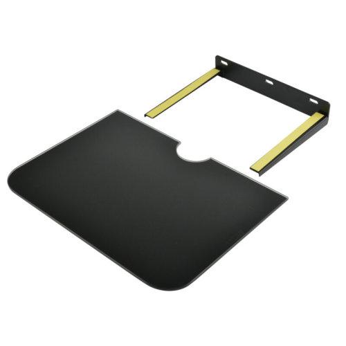 1-Tier Black Glass Floating Shelf | Wall-Mounted DVD Player Shelf