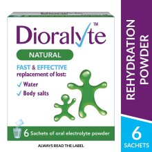 Dioralyte Supplement Replacement of Lost Body Water & Salts Sachets - Natural Flavour - 6 Sachets