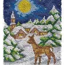 Christmas Winter Deer Rug Latch Hooking Kit (64x48cm blank canvas)