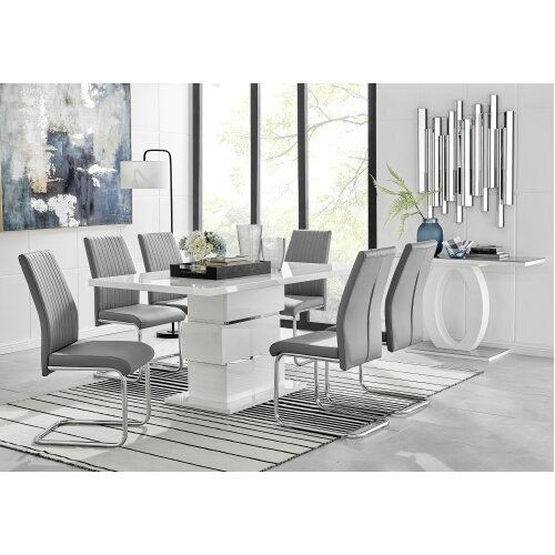 Apollo Rectangle Chrome High Gloss White Dining Table And 6 Elephant Grey Lorenzo Chairs Set