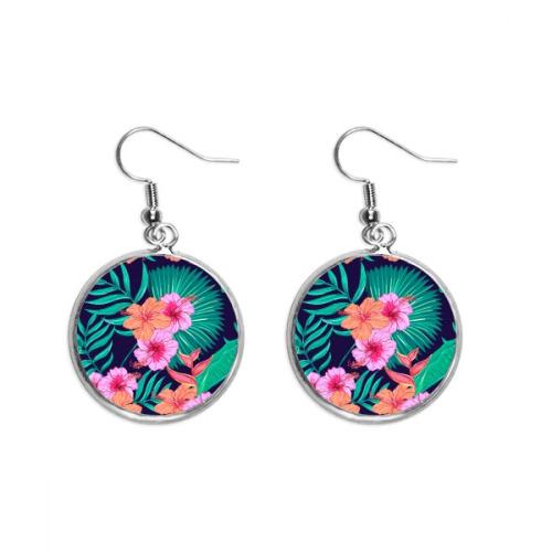 Flower Plant Leaf Blue Sky Ear Dangle Silver Drop Earring Jewelry Woman