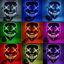 LED Halloween Mask Glowing Lights Horror Purge Clown Mask Masks Zombie Decoration