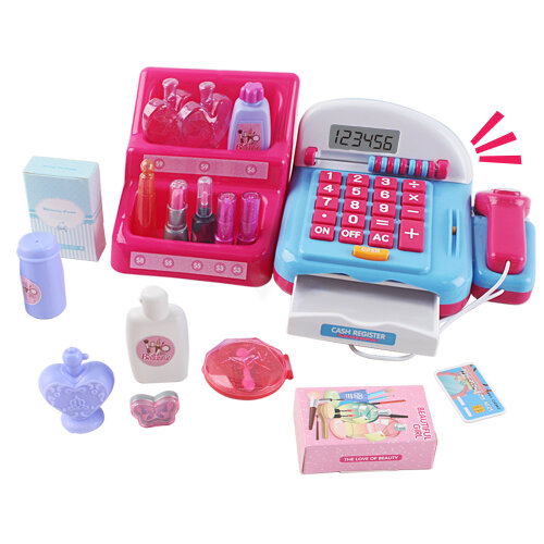 deAO Beauty Salon Till Toy for Kids Pretend Electronic Cash Register Play Set with Abacus, Calculator, Scanner, Credit Card