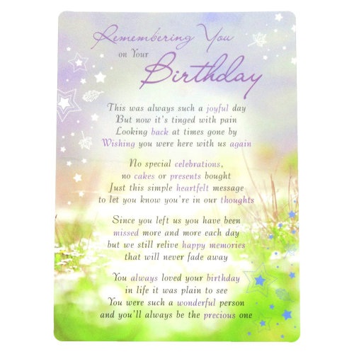 In Loving Memory Open Graveside Memorial Card - Remembering You on your Birthday