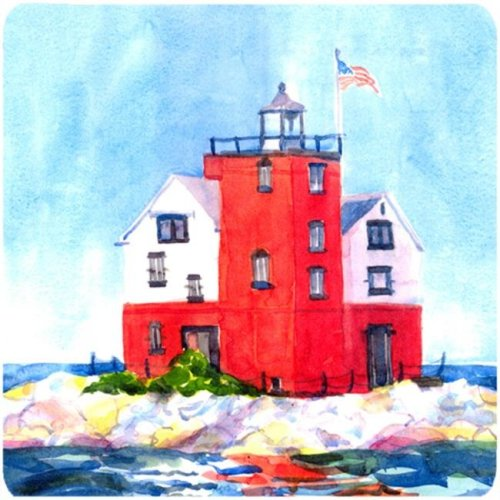 Lighthouse On The Rocks Harbour Foam Coasters - Set 4