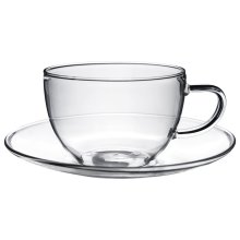 Glass Cups and Saucers Cappuccino Tea Coffee Serving Cup Set 260ml x1
