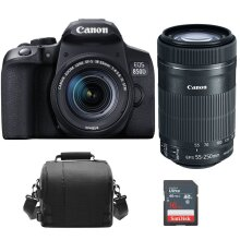 CANON EOS 850D KIT EF-S 18-55mm F4-5.6 IS STM Black + EF-S 55-250MM F4-5.6 IS STM + camera Bag + 16GB SD card