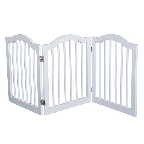 PawHut 3 Panel Dog Safety StairGate  Freestanding Walk-through Pet Gate Divider for walls & doorways, White