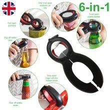 Multi-Tool 6 in 1 Bottle Can Jar Opener Grip Open Pull Can Opener