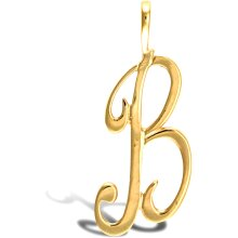 Jewelco London Solid 9ct Yellow Gold Script Identity Initial Pendant Letter B