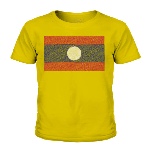 (Gold, 3-4 Years) Candymix - Laos Scribble Flag - Unisex Kid's T-Shirt