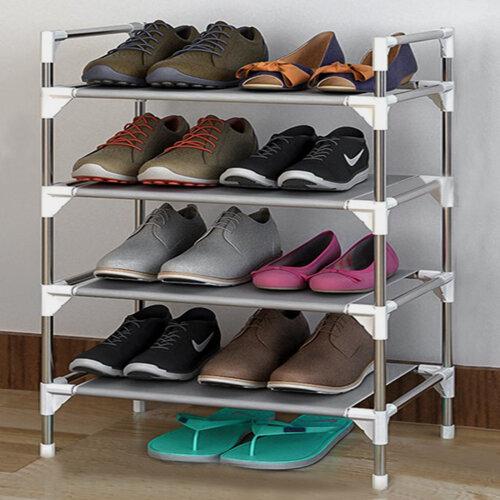 4 Tier Extendable Metal Shoe Rack Space Saving Storage Organiser Shelf