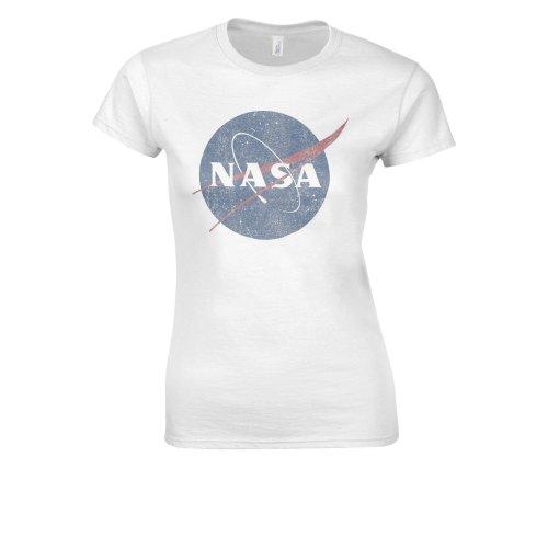 Nasa National Space Administration Logo Vintage White Women T Shirt Top