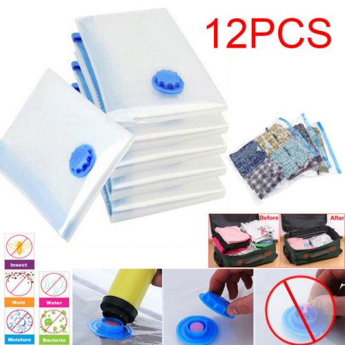 12X 90*50cm Large Space Saving Vacuum Storage Bags Saver Clothes Bags