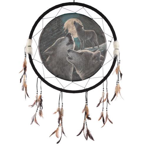 Decorative Fantasy Wolf Family Dreamcatcher Large