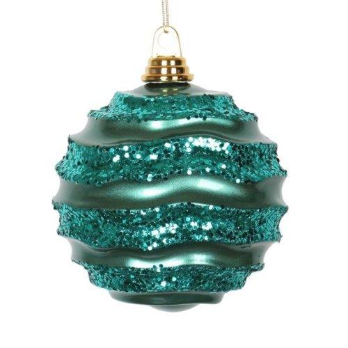 Vickerman M132324 Emerald Candy Glitter Wave Ball Ornament - 10 in.