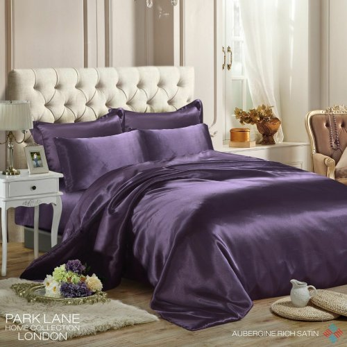 (DOUBLE, AUBERGINE) 6PCS Satin Silk Duvet Cover Bedding Set