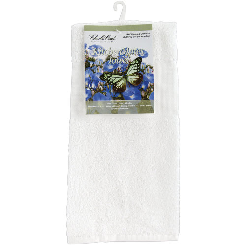 """Charles Craft Kitchen Mates Hemmed Towel 14 Count 15""""X25""""-White"""