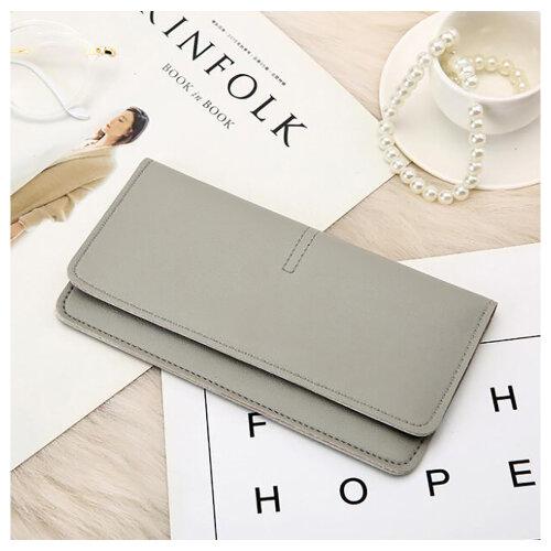 Soft PU Leather Bifold Multi Card Holder Wallet, Elegant Clutch Long Purse for Women Ladies-Gray