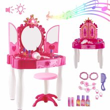 deAO Girls Vanity Dressing Table Glamour Mirror Makeup Table with Stool Playset Toy Light & Music Great Gift NEW